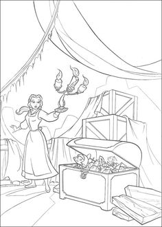 Belle en het Beest Kleurplaten voor kinderen. Kleurplaat en afdrukken tekenen nº 22