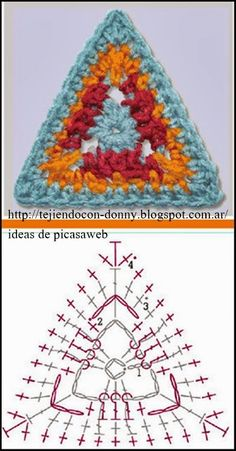Crochet triangle motif diagram.