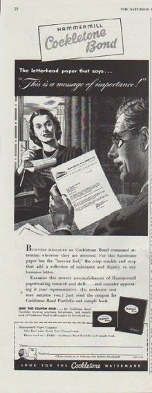 """Description: 1948 COCKLETONE vintage print advertisement """"This is a message of importance"""" -- Hammermill Cockletone Bond ... The letterhead paper that says ... """"This is a message of importance!"""" -- Size: The dimensions of the half-page advertisement are approximately 5.5 inches x 13.5 inches (14 cm x 34 cm). Condition: This original vintage advertisement is in Very Good Condition unless otherwise noted."""