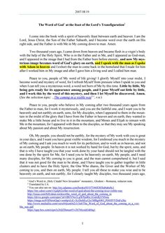 2007.08.19 - The Word of God at the feast of the Lord's Transfiguration