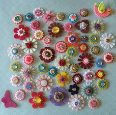 a bouquet of felt flowers
