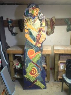 "TammyVitale.com  ""Athena"" 7 ft outdoor, goddess mosaic, handmade, commercial and broken dish tiles"