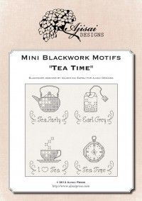 Mini Blackwork Motifs: Tea Time | Ajisai Press
