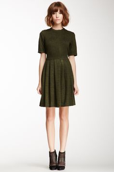 Bobeau Snake Print Fit-N-Flare Dress// Loe the moss green color//