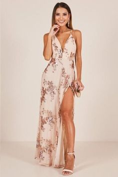 Spring Dresses You Will Feel Adorable Wearing - Oscilling Maxi Dress With Slit, V Neck Dress, The Dress, Sexy Maxi Dress, Handkerchief Hem Dress, Bridesmaid Dresses, Prom Dresses, Teen Dresses, Long Dresses