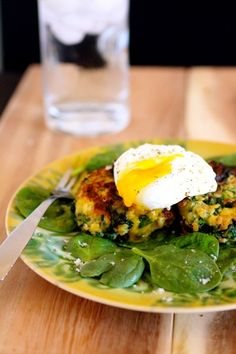 Spinach Squash Fritters with Poached Egg