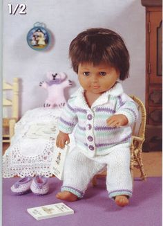 baby dolls clothes knitting pattern dolls pyjamas slippers teddy baby reborn boy doll 22 inch doll DK baby dolls knitting patterns pdf by Minihobo on Etsy Knitting Dolls Clothes, Baby Doll Clothes, Knitted Dolls, Doll Clothes Patterns, Crochet Dolls, Doll Patterns, Sewing Dolls, Babies Clothes, Baby Boy Knitting Patterns