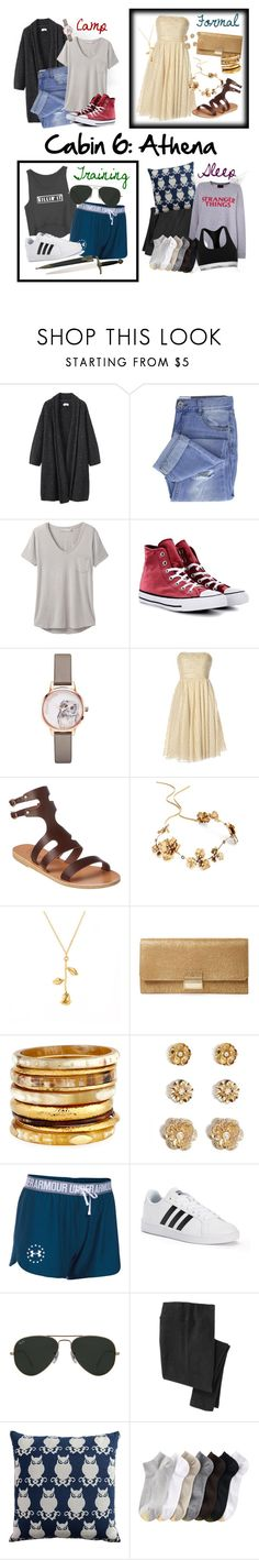 """Cabin 6: Athena"" by geekydesigner ❤ liked on Polyvore featuring Toast, Taya, prAna, Converse, Olivia Burton, Notte by Marchesa, Ancient Greek Sandals, Twigs & Honey, Furla and Ashley Pittman"