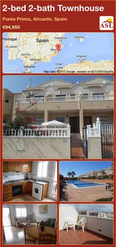 Townhouse for Sale in Punta Prima, Alicante, Spain with 2 bedrooms, 2 bathrooms - A Spanish Life Valencia, Portugal, Alicante Spain, Family Bathroom, Rooftop, Townhouse, Swimming Pools, Spanish, Patio