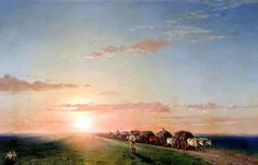 """Ivan Aivazovsky: """"A Wagon Train in the Desert"""", oil on canvas, Current location: State Open-air Museum 'Palace Gatchina. Russian Painting, Russian Art, A4 Poster, Poster Prints, Amber Tree, Famous Artwork, Art Database, Vintage Artwork, Art Studios"""