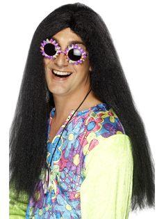 Musta peruukki. Käy hippi- ja rock-teemoihin.