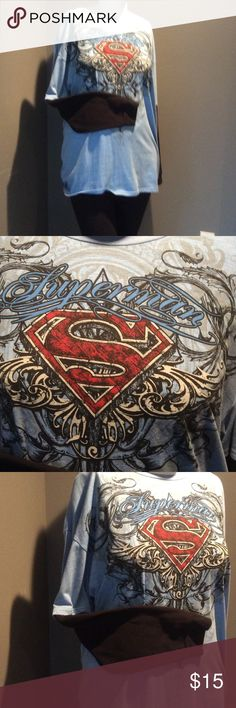 Superman Has Nothing on Me! Light blue tee with black thermal long sleeves attached. NWT Tops