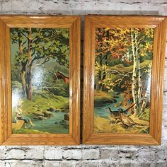 Complete and framed in light (honey) oak frames- ready to hang. These paintings are from the Four Seasons collection by Craft Master. 1960's Paint by Number Picture Set.   eBay!