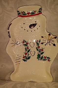 Baum Bros Formalities Snow Man Snowman Plate Gold Trim Frosty Cookie Plate 12x8""
