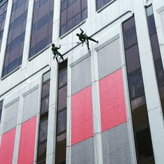 Cleaning windows at The Adelphi