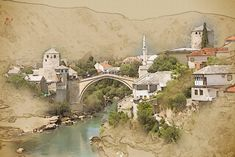 Artistic representation of the historic city of Mostar. Evoking the spirit of past Ottoman times and culture, this area is full of shops where you can find handcrafts, art work,  souvenirs and colorful Turkish rugs. Read more on our website: www.tourguidemostar.com #travel #travetips #besttravel #tourguidemostar #visitmostar #bosnia #herzegovina #oldbridge #bosniaandherzegovina #počitelj #neretva #photography #mosques #architecture