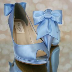 Wedding Shoes Cornflower Peep Toe Wedding Shoes with Matching Bow on... ($138) ❤ liked on Polyvore featuring shoes, wedding wedge shoes, peep-toe shoes, peeptoe shoes, peep toe wedding shoes and peep toe bridal shoes