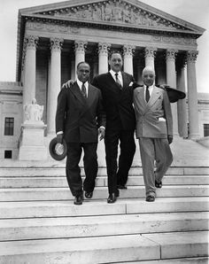 Brown v. Board Of Education: Black History Photo Of The Day (#5) -- Today's photo was taken on May 17, 1954 after the landmark Brown v. Board of Education Supreme Court decision, that ruled segregation unconstitutional. The high court bundled the case with four other related cases, and three lawyers including, Thurgood Marshall (center), chief counsel for the NAACP's Legal Defense Fund, George E. C. Hayes (left) and James M. Nabrit (right) took it on.