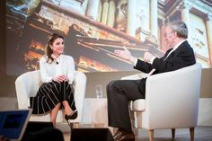 8/5/2017: Queen Rania tackled the Syrian refugee crisis, the rising appeal of populist parties and the backlash against globalization in Europe, and the urgent need to redesign education in the Middle East, during an onstage interview in the UK .