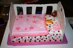 Baby Bed Cake  cake is two quarter sheet cakes with fondant crib ,bear,booties.