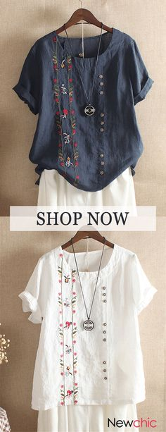 Bohemian Embroidery Floral Short Sleeve Summer T-Shirt look chipper and natural. NewChic has a lot of women T-shirts online for your choice, believe you will find your cup of tea. Cute Dresses, Cute Outfits, Medieval Dress, Embroidered Clothes, Crochet Blouse, Summer Tshirts, Floral Shorts, T Shirts For Women, Clothes For Women