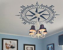 Ceiling Medallion Compass Rose DECAL Nautical Beach Decor Removable Graphic Art Vinyl up to 6 ft diameter - lamp or chandelier