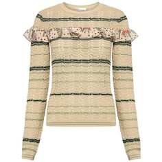 Red Valentino - Floral Ruffle Detail Striped Sweater (7.331.495 IDR) ❤ liked on Polyvore featuring tops, sweaters, knit sweater, stitch sweater, snug top, floral print sweater and ruffled sweaters