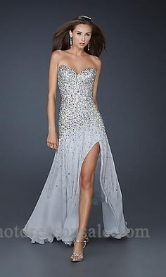 Long Strapless Gray Dress W/ Silver Sequins & Slit.