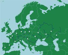 Európa: folyók - Térképes kvízjátékok