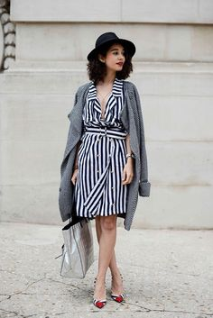 Mix different sized stripes in your accessories and wear your jacket on your shoulders for Parisian Chic