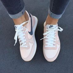 best loved ff9ac a2b00  60 Spring Summer Shoe Trends Pale Pastel Pink White And Grey Nike Sneakers  Pink Trainers Outfit