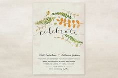 Romantic Rustic Wedding Invitations. love, just wish that orange branch was lavender...