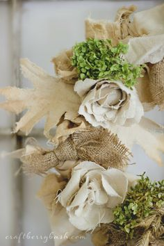 (Wheat, hydrangea, burlap, and muslin) Updated Fall Wreath and Seasons of Home - Autumn Edition - Craftberry Bush