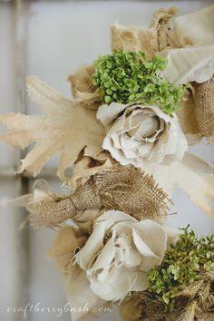 (Wheat, hydrangea, burlap, and muslin) Updated Fall Wreath and Seasons of Home - Autumn Edition - Craftberry Bush