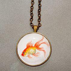 Casual Goldfish pendant necklace, fun fashion jewelry, original watercolor print, casual jewelry, glass cabochon pendant, goldfish  necklace