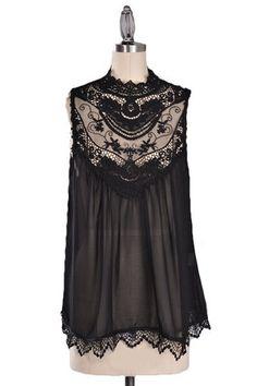 Ever After Lace Neck Blouse - Black $38.00