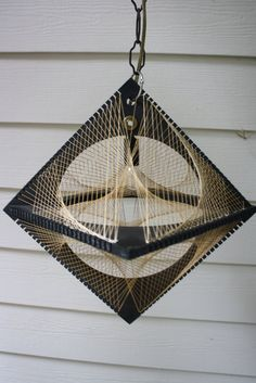 Retro String Art Hanging Lamp Light Curvillusion. Awesome Lamp! I could definitely do this. I loved string art in middle school!