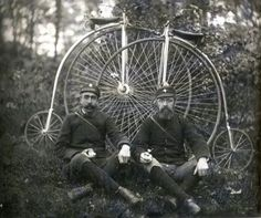 The new invention! the Bicycle!.  brothers pose with brand new bikes!  (could be late late 1800s too)