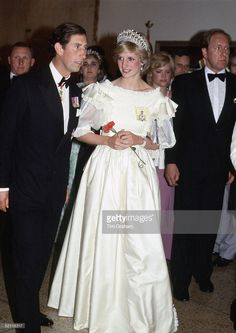 The Prince And Princess Of Wales Attending A Banquet During Their Official Tour Of Canada. She Is Wearing A Dress Designed By Fashion Designer Gina Fratini
