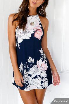 Sleeveless Random Floral Print Halter Backless Mini Dress - US$13.95 -YOINS