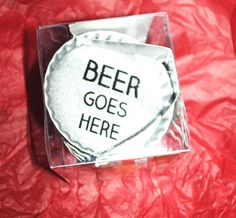 Tin Bottlecap Coasters Beer Goes Here Set of 16 Drinks Man Cave Barware Crafts