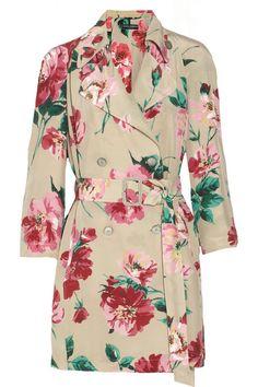 Dolce & Gabbana Floral-print silk trench coat