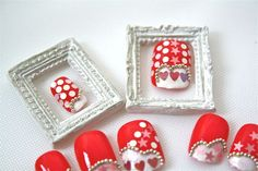 Red, White Sequin Stars, Hearts and Polka Dots Silver Bead Art Nails