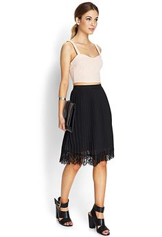Pleats & Lace Midi Skirt | FOREVER21. Love the lace detail at the bottom