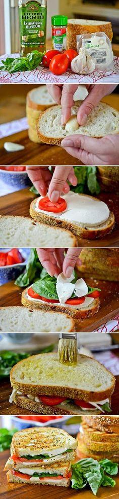 Grilled Margherita Sandwiches // CARB: Bread // PROTEIN: Mozzarella // FAT: Olive Oil