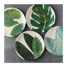 Tropical Foliage Melamine Plate (595 PHP) ❤ liked on Polyvore featuring home and kitchen & dining