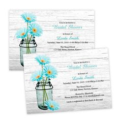 Aqua Daisies in a Mason Jar Bridal Shower Invitation