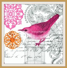 SALE *** TWO Paper napkins for DECOUPAGE - Pink Bird #207 by VintageNapkins on Etsy