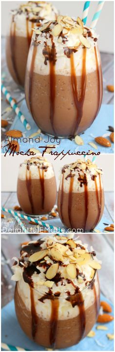 If you like coconut, almonds and chocolate, you'll love this Almond Joy Mocha Frappuccino!  This delicious frozen frappuccino drink has amazing flavor perfect for waking you up and getting you going!  Your morning coffee will never be the same!