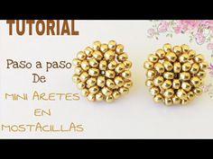 TUTORIAL DE ARETES PEQUEñOS HECHOS CON MOSTACILLAS, HANDMADE STUD EARRIGNS FOR ACCESORIES DESIGN - YouTube Beaded Jewelry Patterns, Fabric Jewelry, Seed Bead Jewelry, Bead Earrings, Jewelry Necklaces, Earring Tutorial, Beaded Purses, Beading Tutorials, Bead Weaving